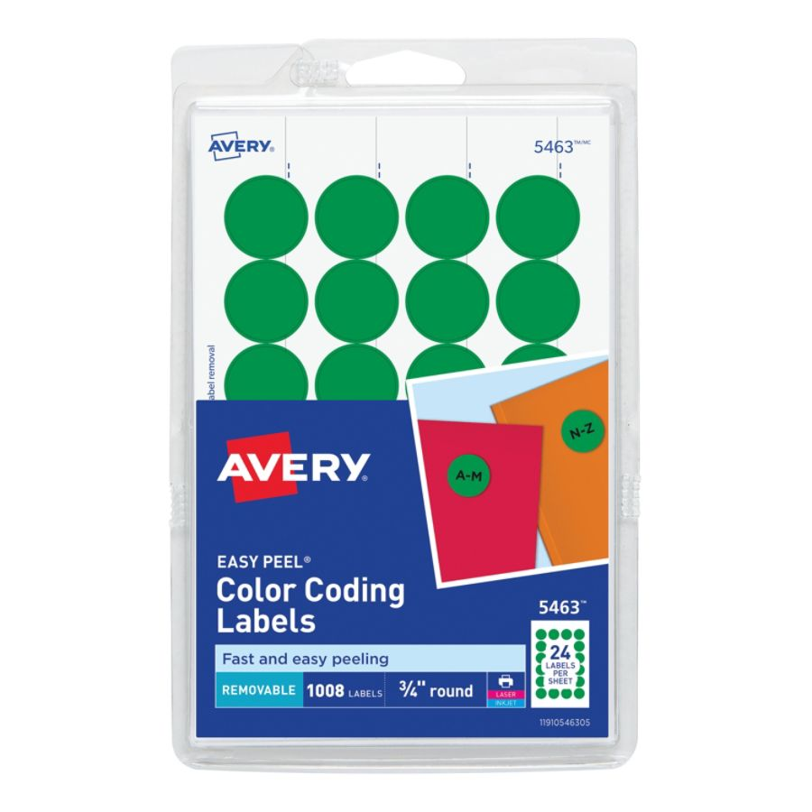 avery removable round color coding labels 34 diameter green pack of 1008 by office depot officemax - Avery Colored Labels