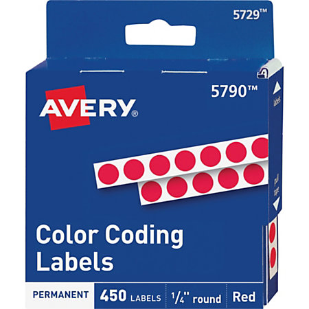 avery permanent round color coding labels 14 diameter red - Avery Colored Labels