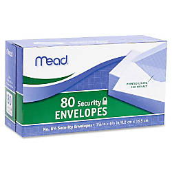 Mead White Security Envelopes Security 6