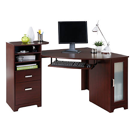 Bradford corner desk cherry by office depot officemax - Officemax home office furniture ...
