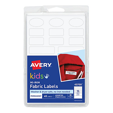 Avery No Iron Clothing Labels White Pack Of 45 By Office