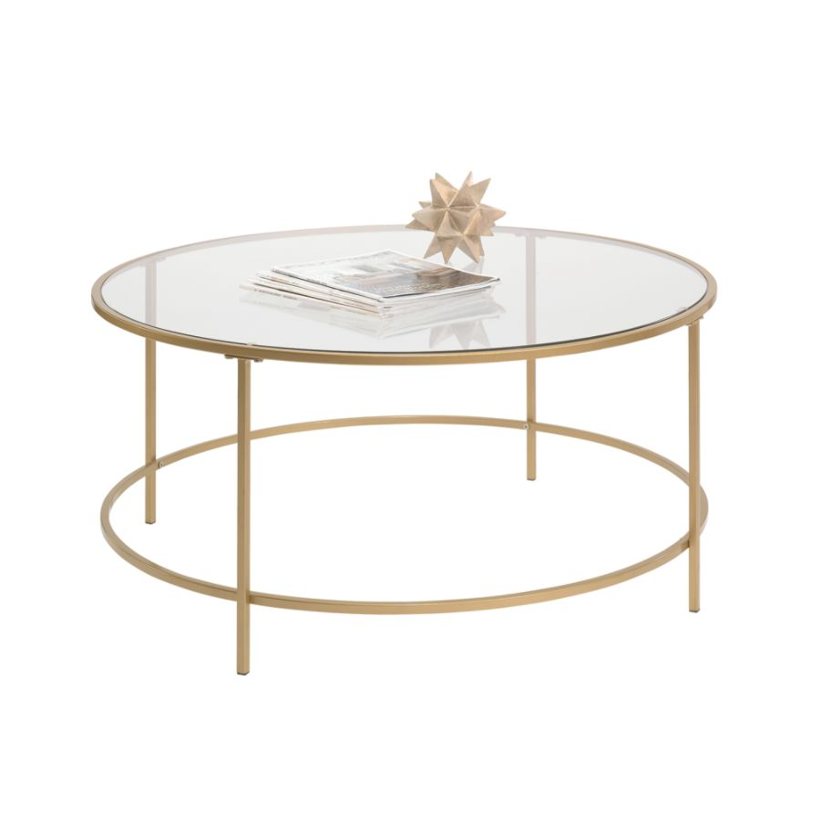 Round Gold Glass Coffee Table Coffetable