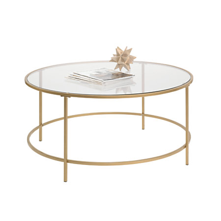 Sauder International Lux Coffee Table Round Satin Gold By Office Depot Officemax