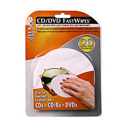 Allsop CDDVD FastWipes Pack Of 20