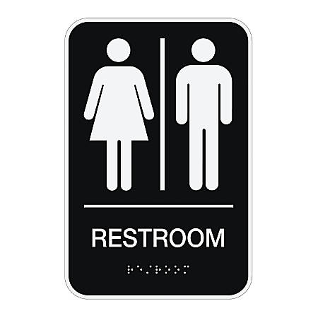 Cosco ada menswomensunisex restroom sign 6 x 9 black by for Unisex handicap bathroom sign