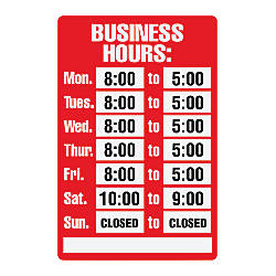 Cosco business hours sign kit 8 x 12 by office depot for V bathroom opening hours