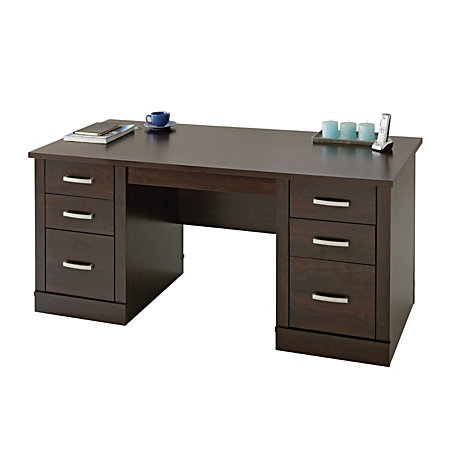sauder office port executive desk dark alder by office depot