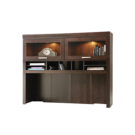 sauder office port computer credenza hutch dark alder by office depot