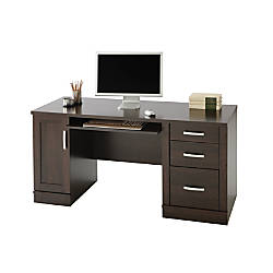 sauder office port computer credenza dark alder by office depot