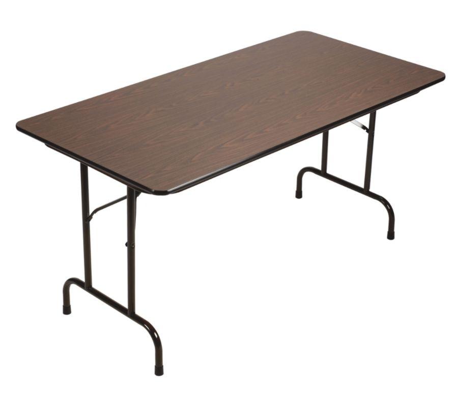 correll folding table 29 x 60 walnutblackoffice depot & officemax