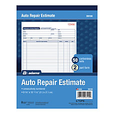 Adams Auto Repair Estimate Books 2