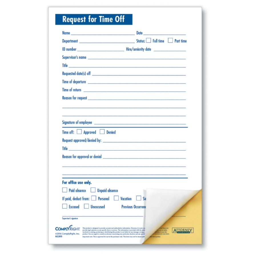 Request Off Forms. Reqest For Time Off- Downloadable Request For