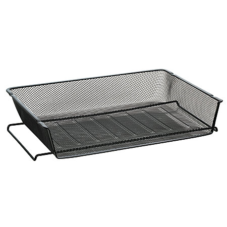 officemax mesh stacking side load letter tray black
