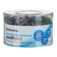 OfficeMax Push Pins Assorted Colors 250