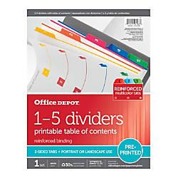 OfficeMax Brand Preprinted Index Dividers Numbers