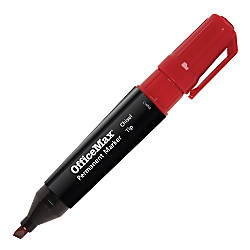OfficeMax Permanent Markers Chisel Tip Red