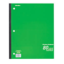OfficeMax Wireless Notebook Quad Ruled 80