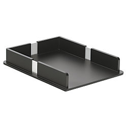 officemax bevel wood letter tray black