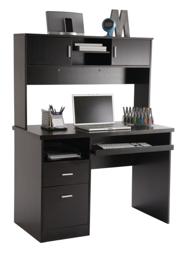 Illustra Transitional Engineered Wood Computer Desk With Hutch 56