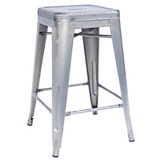 Lorell Metal Stools Silver Pack Of