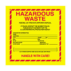 Tape Logic Hazardous Waste Shipping Labels