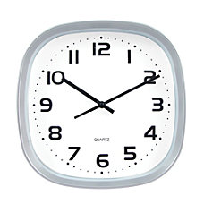 TEMPUS Wide Profile Square Clock Silver
