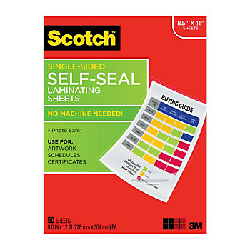 Scotch Self Seal Laminating Sheets 8 12 X 11 Clear Pack Of
