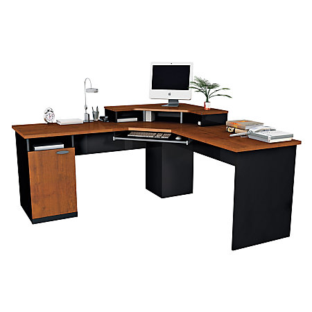 Bestar hampton corner work station tuscany brown black by office depot officemax - Office max office desk ...