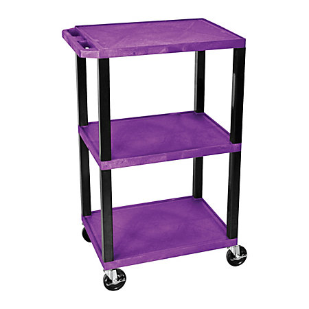 Luxor Tuffy 3 Shelf Cart 42 H X 24 W X 18 D Purple By Office Depot Offi