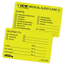 Tabbies Emergency Information Cards ICE Fluorescent