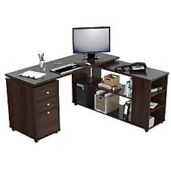 Inval L Shaped Computer Workstation Espresso