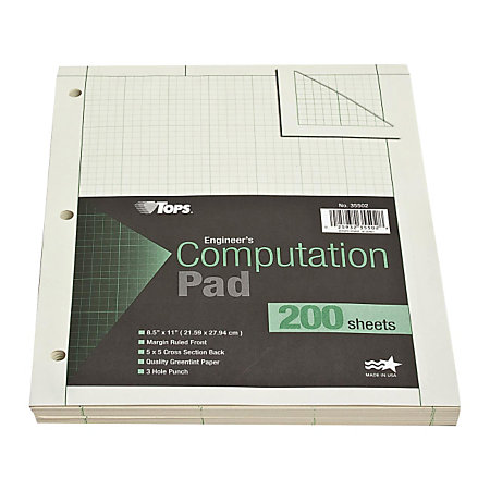 tops engineers computation pad 8 12 x 11 200 sheets green by office depot officemax. Black Bedroom Furniture Sets. Home Design Ideas