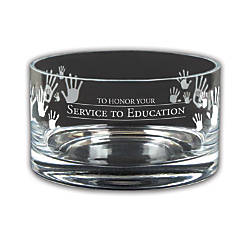 Service To Education Large Crystal Bowl