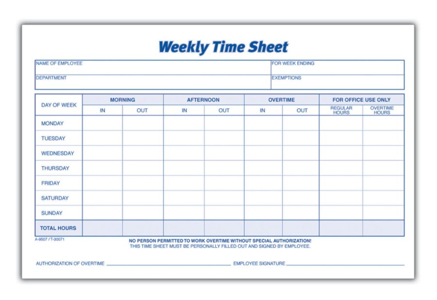 Adams Weekly Time Sheets 8 12 X 5 12 White 100 Sheets Per Pad Pack