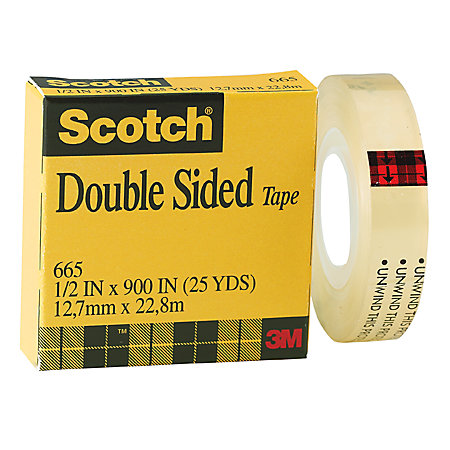 scotch 665 permanent double sided tape 12 x 900 by office depot officemax. Black Bedroom Furniture Sets. Home Design Ideas