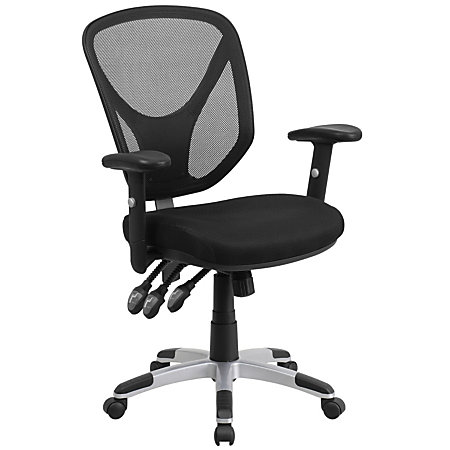 Flash Furniture Mesh Mid Back Swivel Task Chair With Adjustable Arms BlackSil