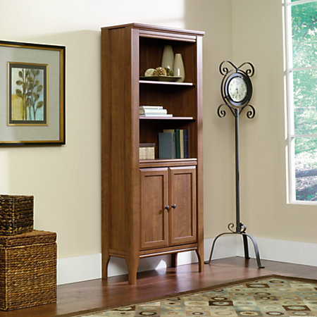 Sauder Leton Library Bookcase With Doors 5 Shelves Sand Pear