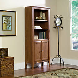 Sauder appleton library bookcase with doors 5 shelves sand pear by office depot officemax - Officemax home office furniture ...