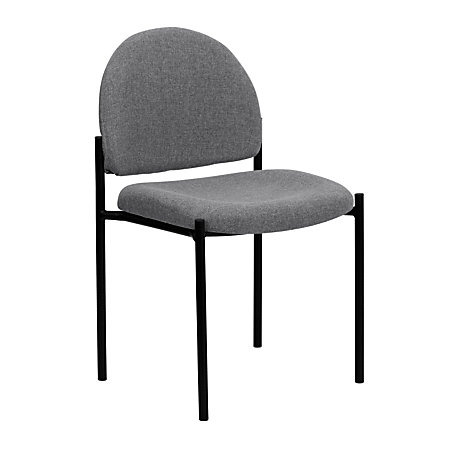Flash Furniture Comfortable Stackable Side Chair GrayBlack By Office Depot A