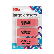 Office Depot Brand Beveled Erasers Pink