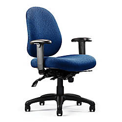 "Neutral Posture® N.dure™ Series Task Chair, 37""H x 27""W x 26""D, Black Frame/Navy Fabric"