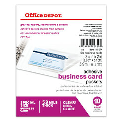 Office depotr brand adhesive business card pockets pack of 10 for Business cards at office depot