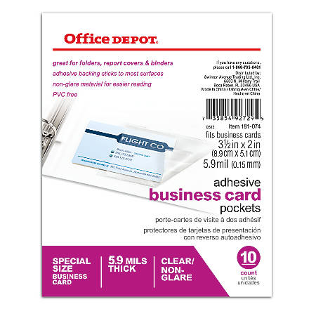 Office depot brand adhesive business card pockets pack of for Office depot business card printing