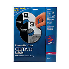 Avery Laser CDDVD Labels Removable Pack
