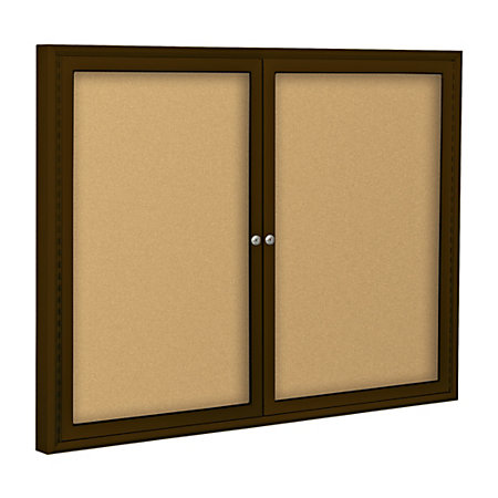best rite 2 door cork bulletin board natural 36 x 60 coffee aluminum frame by office depot. Black Bedroom Furniture Sets. Home Design Ideas