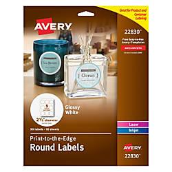 Avery Easy Peel InkjetLaser Glossy White