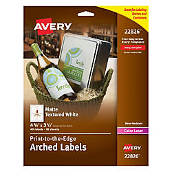 Avery Easy Peel Permanent Textured Arched