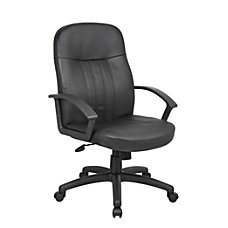 Boss Mid Back Leather Chair Black