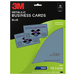 3M Metallic Business Cards 3 12 x 2 Blue Pack 50 by