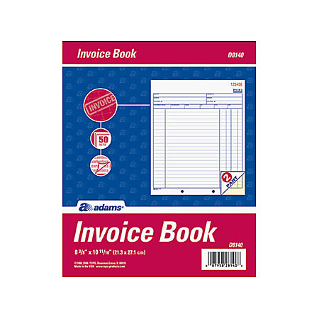Adams invoice books 2 part 8 716 x 10 34 whitecanary 50 for Invoice book office depot